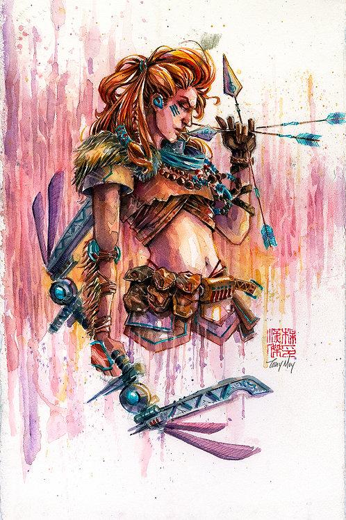 Aloy - Horizon Zero Dawn - Original Watercolor Art