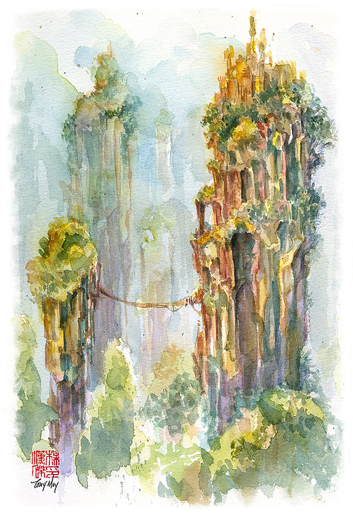 The Pillars of Angae - Watercolor Rice Paper Print