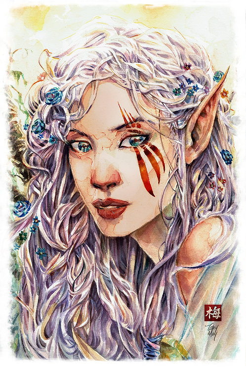 Scars of Elvendyr - Elvish Princess - Watercolor Art Print
