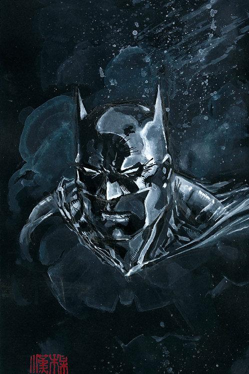 Batman - White on Black - Original Watercolor Art