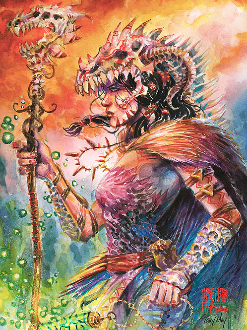 Witch Doctor's Gaze - Original Watercolor Art