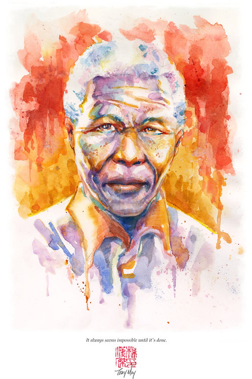Nelson Mandela - Impossible -  Specialty Watercolor Print
