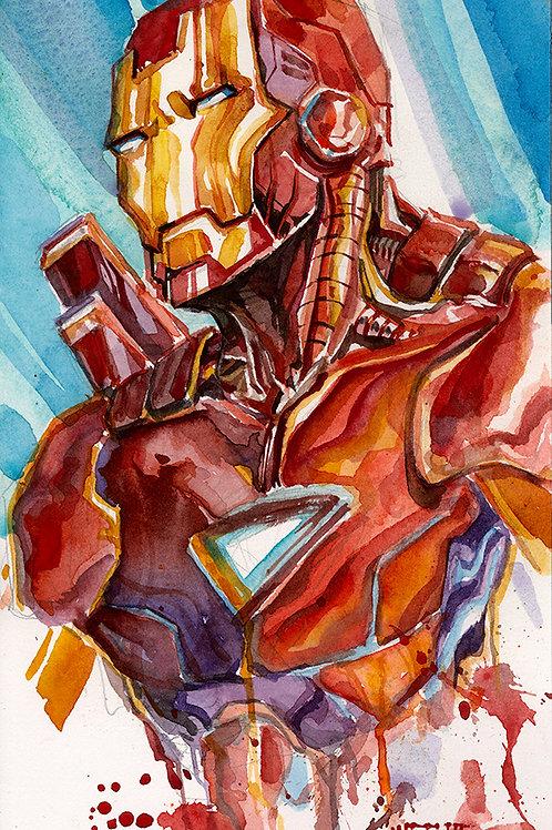 Ironman Hotrod - Original Watercolor Art