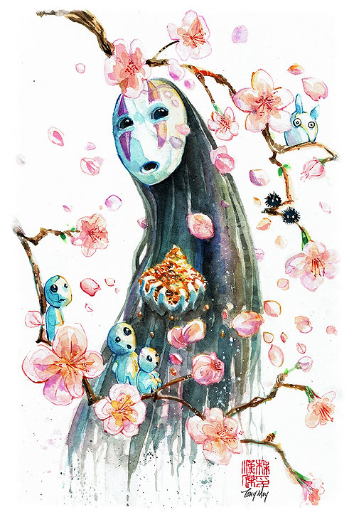 No Face & Friends - Ghibli -Standard Watercolor Print