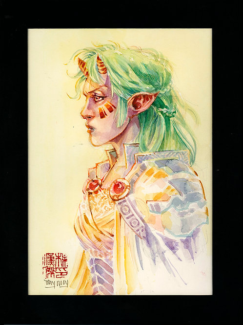 Elven Oni - Original Watercolor Art