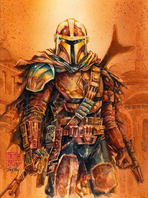 Battleready Mandalorian  - Standard Watercolor Print