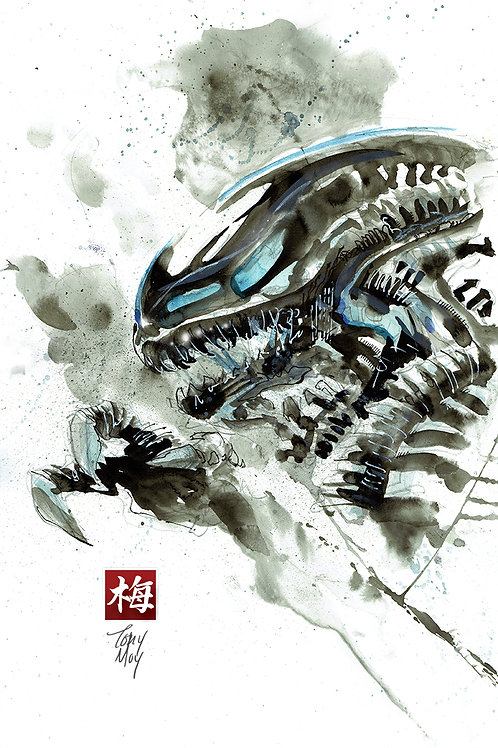 Xenomorph in Inkwash and Watercolor - Ricepaper Watercolor Print