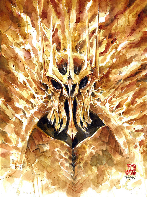 Sauron Watercolor Painting - Lord of the Rings Mordor Armor Eye of Sauron