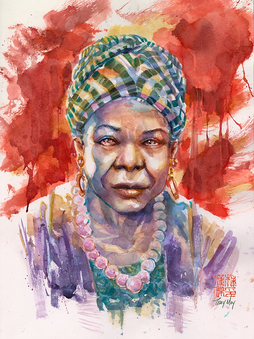 Maya Angelou - I Rise -  Specialty Watercolor Print