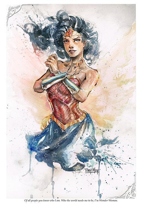 I am Wonder Woman - Watercolor Canvas Print