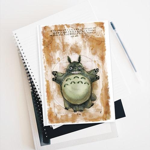 Vitruvian Totoro Watercolor Journal - Ruled Line