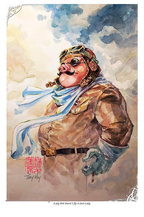 Porco Rosso - Ghibli -Standard Watercolor Print