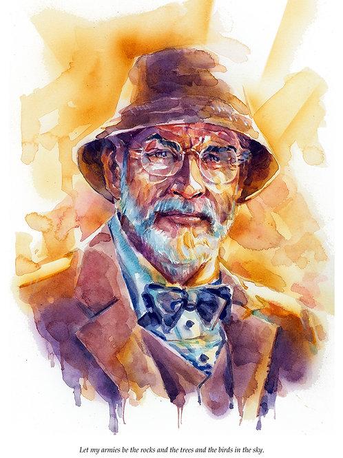 Henry Jones - Sean Connery -  Indiana Jones - Watercolor Print 10x14
