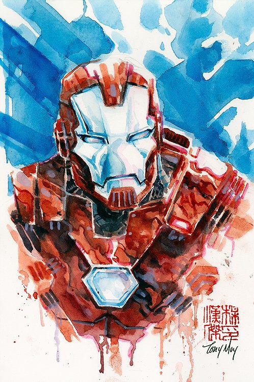 Iron Man Silver - Original Watercolor Art