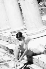 Maria Kousouni in ancient Roman Agora of Athens during a photoshooting. Photo by Agapios Agapiadis.