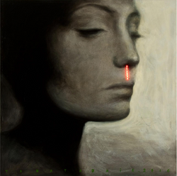 Clot Eleven (2010) Acrylic on canvas with LED, 100x100cm