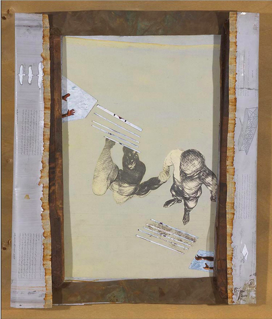 Collage,cutout,gauze,photos,newspaper and net mounted on canvas (2000) 71.5x60 cm