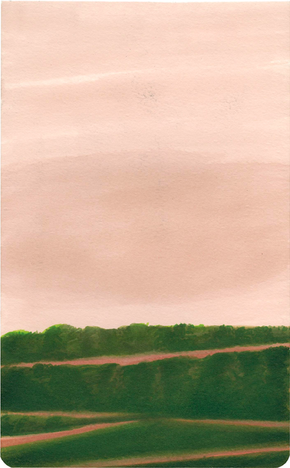 Untitled form the 'Landscapes' series (2013) Marker on watercolor paper, 21x13 cm Screen Shot 2019-1