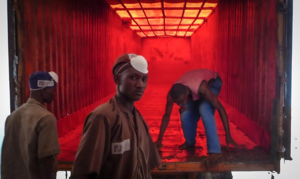 Déchargement des camions à l'usine Barry Callebault à San Pedro, Côte d'Ivoire