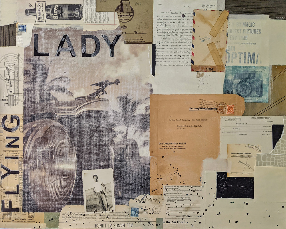 Flying Lady, 24x30 inch mixed-media artwork by Rene Griffith.