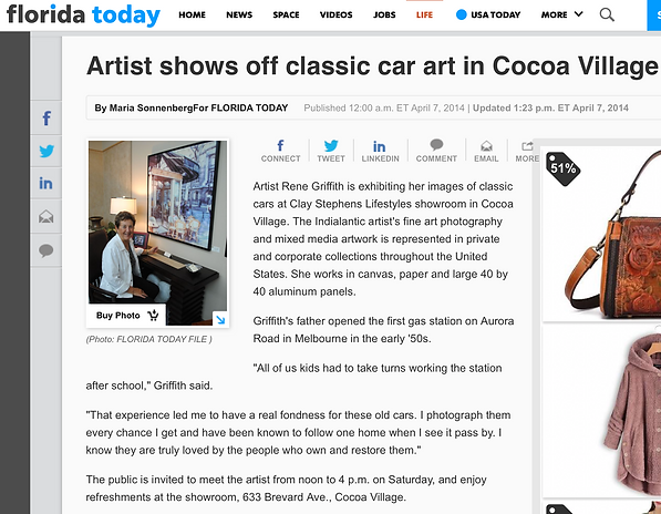 Florida Today's article featuring Rene Griffith's classic car art in Cocoa Village.