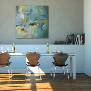 """""""Some Days Art Just Blue"""" shown in a dining room."""