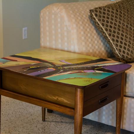 """Good Vibrations"" Mid-Century Modern End Table"