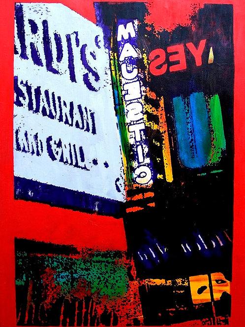 BROADWAY 36X42 Acrylic and Silkscreens on Canvas
