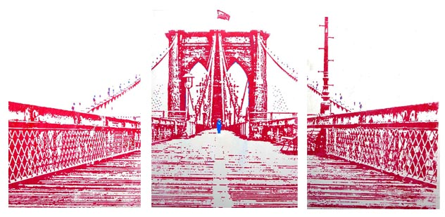 Bridge in Red Triptych 48X78