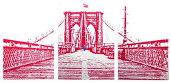 Bridge in Red Triptych 48X78