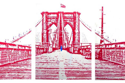 BRIDGE IN RED Triptych Acrylic and Silkscreen on Canvas