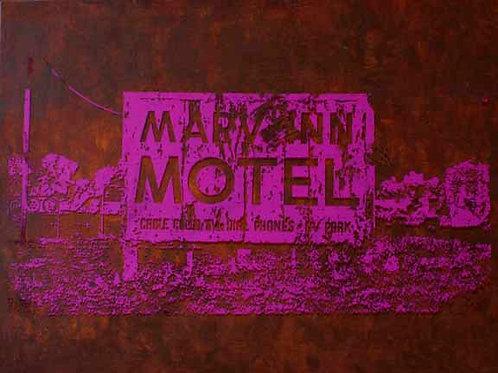 MARV INN 30X40 Acrylic and Silkscreen on Canvas