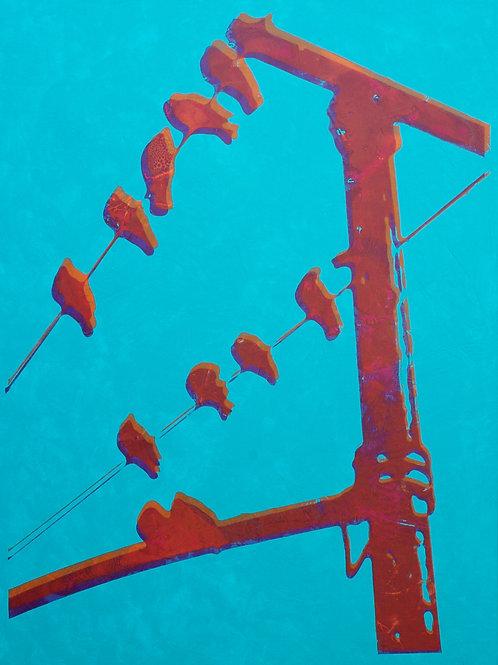 ZELDA 38X42 Acrylic and Silkscreen on Canvas