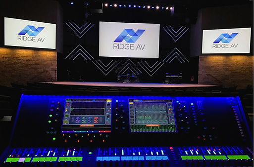 Ridge AV, Audio, Video, AV, Front of House, Projection, Lighting, Staging, Church, Speakrs, Console, Mic