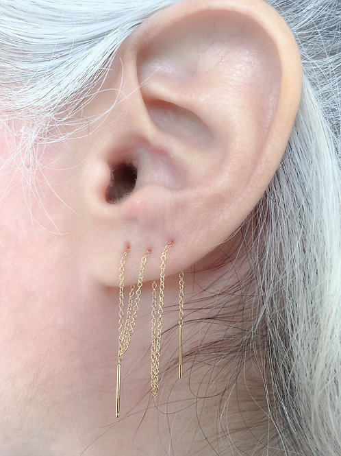 """14k Gold """"Post to Post"""" thread earrings"""