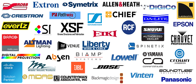 AV, Audio, Video, Lighting, Vendors, Crestron, Extron, Barco, Ross, Symetrix, Allen & Heath, DiGiCo, L Acoustics, Sennheiser, Chief, Da-Lite, Epson, Altman, RF Venue, Libety Wire & Cable, Spinetix, Crown, Lowell, Yamaha, SoundTube, Biamp, Absen, Digital Projection, Middle Atlantic, Cisco, Countryman, Black Magic Design, Vinten, Panasonic