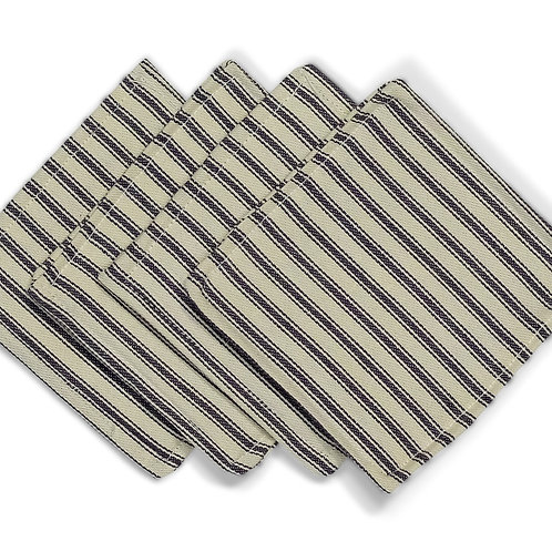 """""""Farmhouse Blue/White Pinstripe Fabric Coasters - Set of 4"""" from the Kitchen & Tabletop Linens Collection @InsidePlannet."""