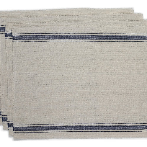 """""""Farmhouse Three Stripe Placemats (Blue) - Set of 4"""" from the Kitchen & Tabletop Linens Collection @InsidePlannet."""