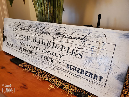 "Handcrafted Wooden Sign -Personalize ""Pick Your Own Pies""  from InsidePlannet.com"