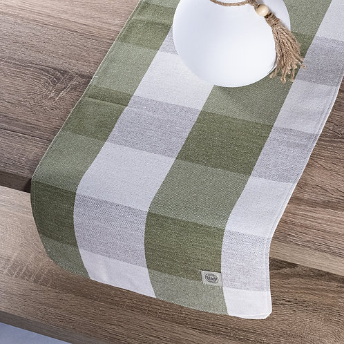 """""""Farmhouse Green Buffalo Check Plaid Table Runner"""" from the Kitchen & Tabletop Linens Collection @InsidePlannet."""