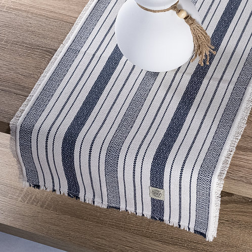 """Farmhouse Blue/White/Grey Stripe Table Runner"" from the Kitchen & Tabletop Linens Collection @InsidePlannet."