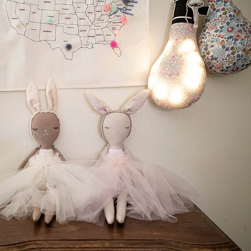 """""""Bunny Bonbon Ballerina - Pink"""" from the Handmade Doll Collection @InsidePlannet.   Made in USA."""