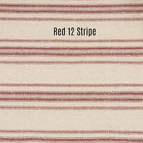 """Farmhouse Red Twelve Stripe Table Runner"" from the Kitchen & Tabletop Linens Collection @InsidePlannet."