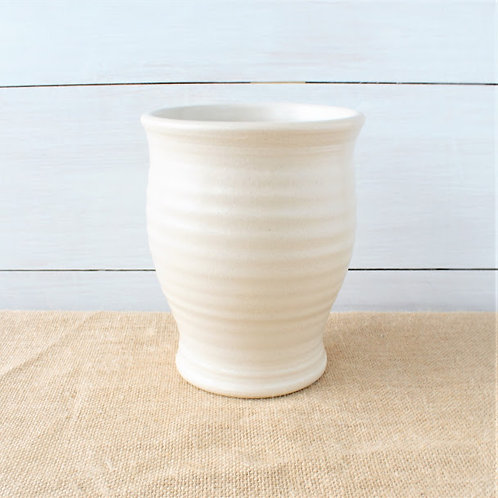 """Farmhouse Ridges Utensil Jar - Drift White"" from the Pottery Collection @InsidePlannet."
