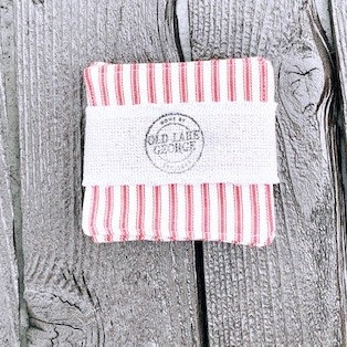 """""""Farmhouse Red/White Pinstripe Fabric Coasters - Set of 4"""" from the Kitchen & Tabletop Linens Collection @InsidePlannet."""