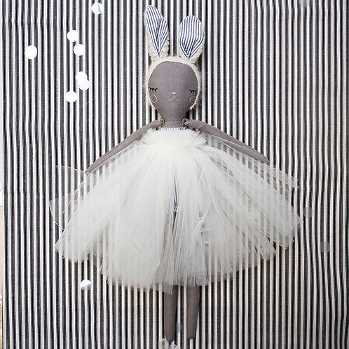 """""""Bunny Bonbon Ballerina - Grey"""" from the Handmade Doll Collection @InsidePlannet.   Made in USA."""