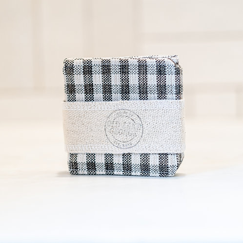 """""""Farmhouse Gray-Cream Plaid Fabric Coasters - Set of 4"""" from the Kitchen & Tabletop Linens Collection @InsidePlannet."""