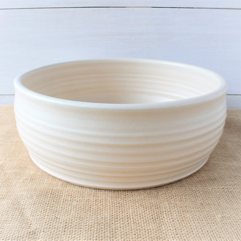"""""""Farmhouse Ridges Serving Bowl - Drift White"""" from the Pottery Collection @InsidePlannet."""