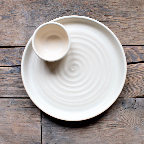 """""""Farmhouse Ridges Chips & Dip Set - Drift White"""" from the Pottery Collection @InsidePlannet."""