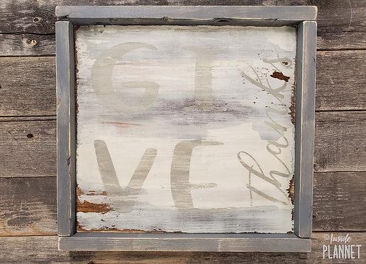 """Give Thanks"" Handmade Wooden Framed Sign"
